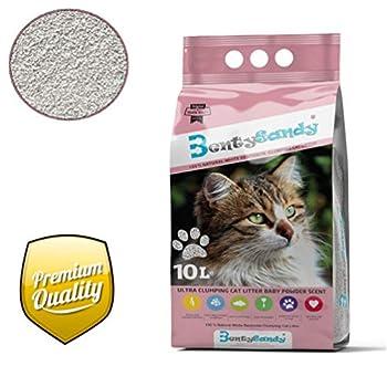 BentySandy Litière Chat 10L Qualité Premium agglomérante, Ultra absorbante aux minéraux bentonite - Parfum Talc de bébé