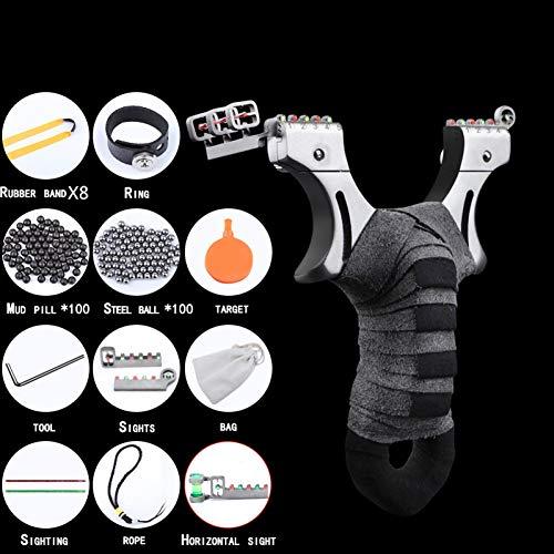 CUHSPOL Steinschleuder Slingshot 2.0 Katapult für Erwachsene/Kinder, Outdoor-Jagd Edelstahl-Schleudern mit 8 Stück Slingshot-Bändern und 200 Stück Slingshot-Munition