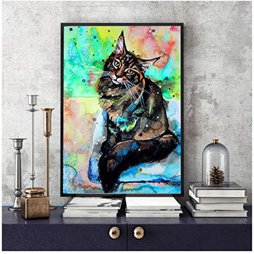 Pintura de lienzo de animales de gato abstracto nórdico, carteles artísticos de pared de animales, impresiones de pared, carteles, regalos, sala de estar, decoración del hogar