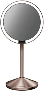 """simplehuman Mini Sensor Lighted Makeup Travel Mirror 5"""" Round, 10x Magnification, Rose Gold Stainless Steel, Rechargeable"""