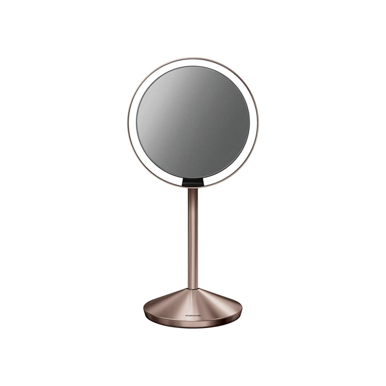 ブラシパール保険simplehuman 5インチセンサーミラー 照明付きメイクアップミラー 10倍拡大 ステンレススチール 5 inch diameter ゴールド ST3010