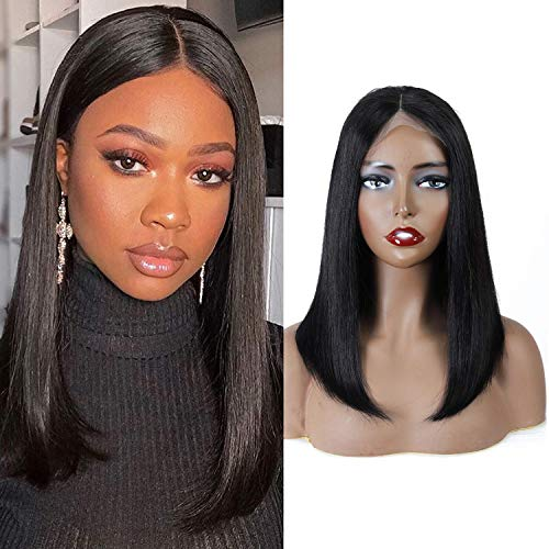 14 Inch Bob Wigs Brazilian Virgin Human Hair 4x6 Lace Closure Wigs Short Straight Bob Wigs For Black Women 150% Density Pre Plucked with Baby Hair Natural Color