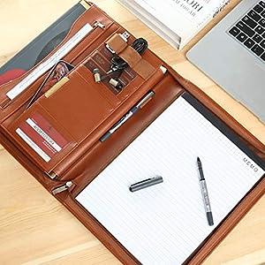 51+zlIDHUrL. SS300  - Leathario Portafolio de Carpeta Portadocumentos A4 Organizadora Oficina Personal para Conferencias de Negocio PU de…