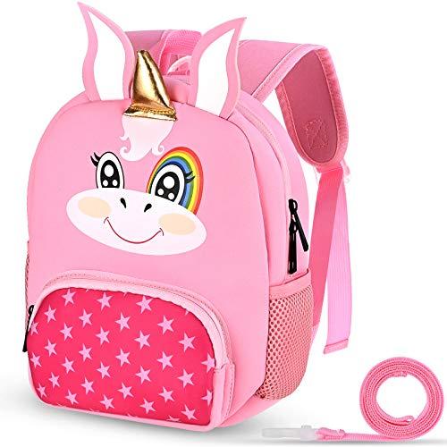 Nabance Kinderrucksack Babyrucksack mit abnehmbare Leine Unisex Rucksack für Kinder Jungen Mädchen Cartoon Kindergartenrucksack Leicht Kinderrucksack (Rosa)