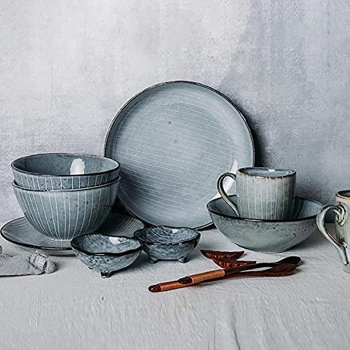 Karid De vajilla de Cocina, Platos y Cuencos Resistentes a Las roturas   Horno de Textura Retro Que Cambia la vajilla de Esmalte para reuniones Familiares y Regalos