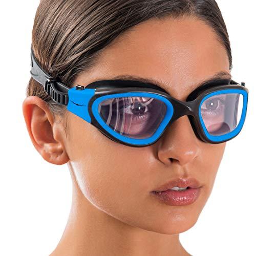 AqtivAqua DX Gafas Natación de Amplio Rango de Visión DX // Entrenamientos de natación - Mar abierto // Línea para interiores - exteriores (Azul, Claro)