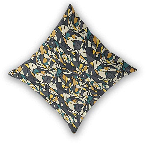 """Abstract Square Throw Pillow Covers Set, Fractal Formless Trippy Shapes in Contrast Tones Diagonal Mosaic Style Artsy Image Durable Decorative Bedding Gift for Couch/Bed/Sofa, W26""""xL26"""" Multicolor"""