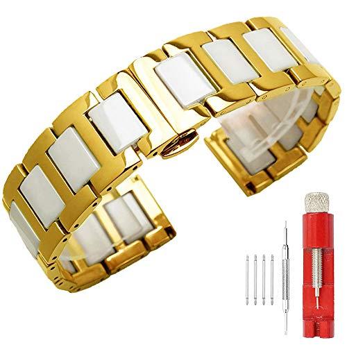 Kai Tian Bandas de reloj para hombre de 20mm Correa reloj de cerámica blanca elegante dorada Banda de reloj de metal Reloj de pulsera de acero inoxidable para hombres