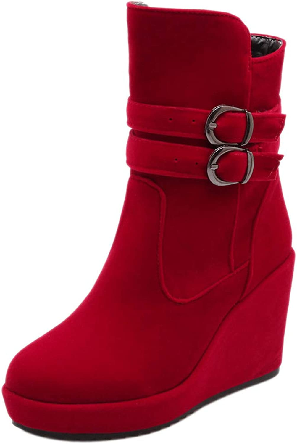 RizaBina Women Round Toe Wedge Heels Ankle Boots Pull On