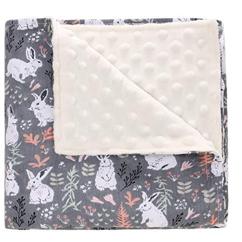 Babydecke Minky Dot Krabbeldecke 110 * 140cm aus 100% Baumwolle Doppelseitig Multifunktional Kuscheldecke als Kinderwagendecke, zum Pucken, Erstlingsdecke für Neugeborene(Kaninchen)