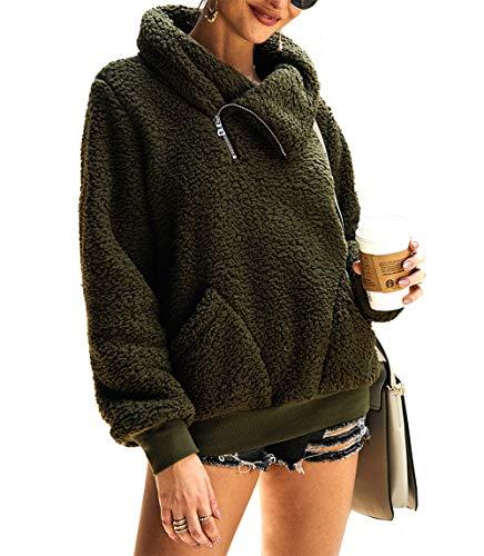 KIRUNDO 2019 Women's Winter Lapel Sweatshirt Faux Shearling Shaggy Warm Pullover Zipped Up with Pockets Outwear