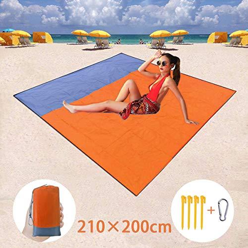 BETECK Alfombras de Playa, 210x200CM Manta de Picnic Impermeable con 4 Estaca Fijo para Jardín Parque Piscina Acampada Viaje al Aire Libre (Naranja)