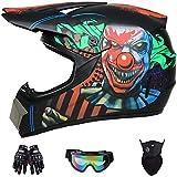 ZHLZH Casque Moto Cross Adulte Casque Motocross avec Lunettes/Gants/Masque, Certification Dot, Casque VTT Integral BMX Quad Enduro ATV Scooter pour Femme Homme Enfant MJH-02 - Clown - S/M/L/XL