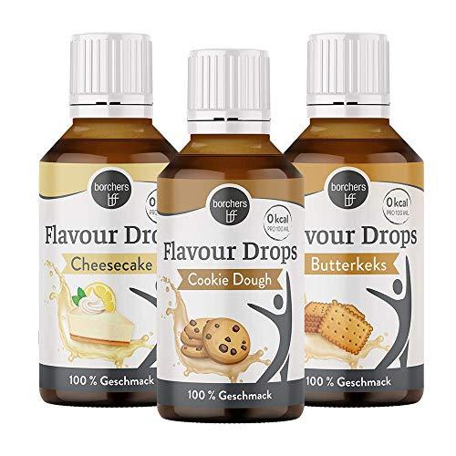 borchers Flavour Drops Probierpaket, je 1 x Cheesecake, Cookie Dough und Butterkeks, 3 x 30 ml, 0 Kalorien, Süßstoff Flüssig, zum Kochen und Backen, Für Getränke