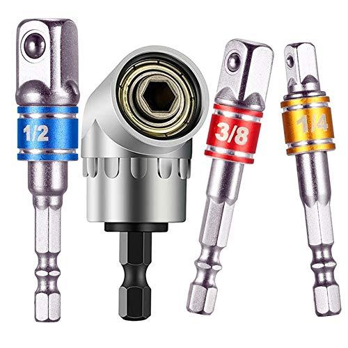 "105 Degree Right Angle Drill Attachment Bit+3Pcs 1/4 3/8 1/2""Impact Grade DriverDrill Bit Set,for Universal Socket,Power Drill Adapter Best Gift For Men, Dad, Boyfriend, Husband, Diy Handyman"