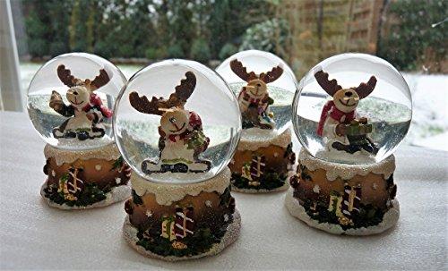 Unbekannt 4 x Schneekugel Elch Schnee Weihnachtselch 6 x 4 cm