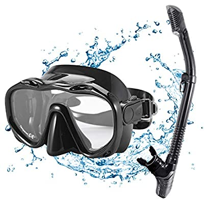 KUYOU Snorkel Set Adults,Dry Snorkeling Set Men Women Anti-Fog Snorkel Mask Impact Resistant Panoramic Tempered Glass Easy Breathing and Professional Snorkeling Gear for Youth Adults (Black)