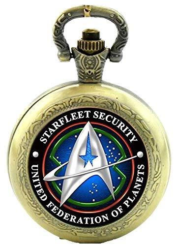 Star Trek Starfleet Collar de cuarzo de seguridad con reloj de bolsillo – efecto bronce antiguo – Caja de regalo con batería de repuesto para el frío