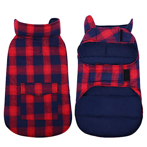 Kuoser British Style Plaid Dog Winter Coat, Windproof Water Repellent Cozy Cold Weather Dog Coat Fleece Lining Dog Apparel Dog Jacket Dog Vest for Small Medium and Large Dogs with Pocket Red M