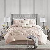 Madison Park Laurel 7 Piece Comforter Faux Silk Diamond Tufted, Embroidered Toss Pillow All Season Shabby Chic Bedding Set, Matching Sham, Bedskirt, Full, Blush