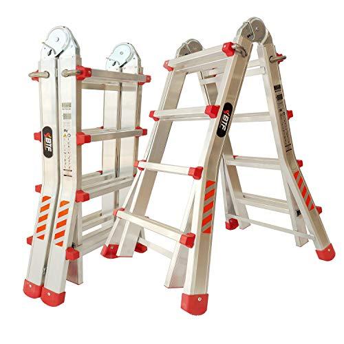 Escalera Articulada Telescópica Plegable 4+3 en 2 Tramos Profesional de Aluminio. Escada...