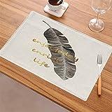 DUPECXU Duradero Hojas bronceadores Imprimir Lino Manteles Plegable del hogar Antideslizante Mat Tabla 6 Piezas para restaurantes y hoteles (Color : 2)