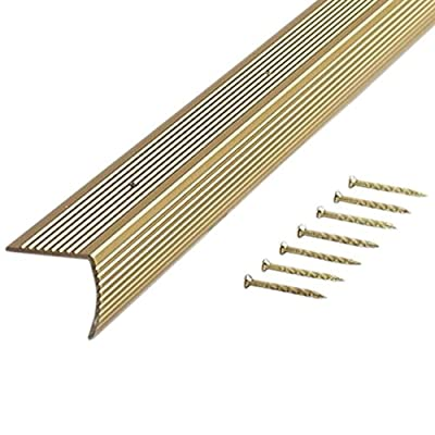 M-D Building Products 79103 Fluted 1-1/8-Inch by 1-1/8-Inch by 72-Inch Stair Edging, Satin Brass