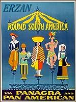 ERZANメタルポスター壁画ショップ看板ショップ看板ラウンド南アメリカパンアメリカン航空ヴィンテージ旅行広告インテリア 看板20x30cm