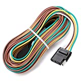 LINKITOM 4-Way Trailer Wiring Harness Kits, 25-Foot 18 AWG Color Corrosion Resistant Coded Wires with 4 Pin Flat Plug, for Utility Boat Trailer Lights