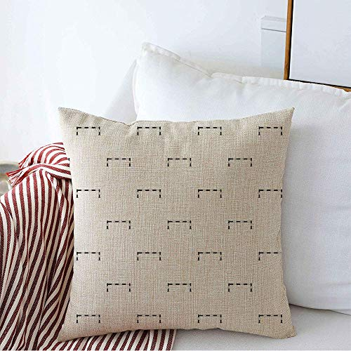 Decorative Throw Pillow Cover Barricade Car Barrier Street Pattern Simple Industrial Black Boundary Closed Construction Creative Cozy Square Cushion Covers 16 x 16 Inches for Bench Bedding Car