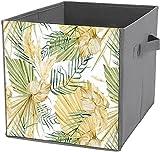 Caja de almacenamiento para debajo de la cama| Cubo de almacenamiento cuadrado plegable, cesta organizadora duradera, diseño bohemio, hojas tropicales y hierba de pampas
