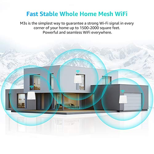 Meshforce Whole Home Mesh WiFi System M3s Suite (Set of 3) – Gigabit Dual Band Wireless Mesh Router Replacement - High Performance WiFi Coverage 6+ Bedrooms