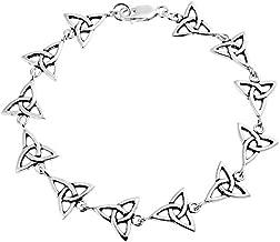 Celtic Triquetra Trinity Irish Love Knot Bff Link Bracelet For Women 925 Sterling Silver