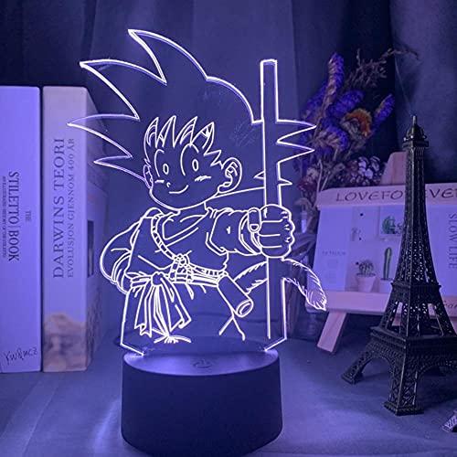 Led Luz de Noche Baby Goku Dormir Figura Luz de Noche,Decoración de Dormitorio 16 Colores Cambiantes Usb Mesa 3d Lámpara Regal Luces de Noche LED