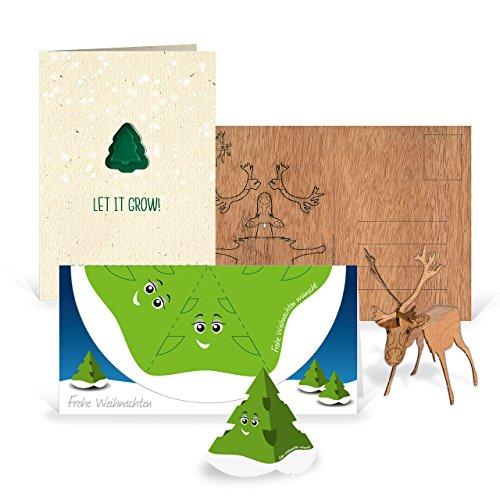 3 x originelle Weihnachtskarten im Set in 3 Motiven - (Rentier zum Basteln, Tannenbaum zum Pflanzen, Weihnachtsbaum zum Ausschneiden)