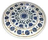 27 pulgadas redondo de la mesa de centro de mármol blanco de la parte superior de la mesa de centro de las piedras semi preciosas incrustadas