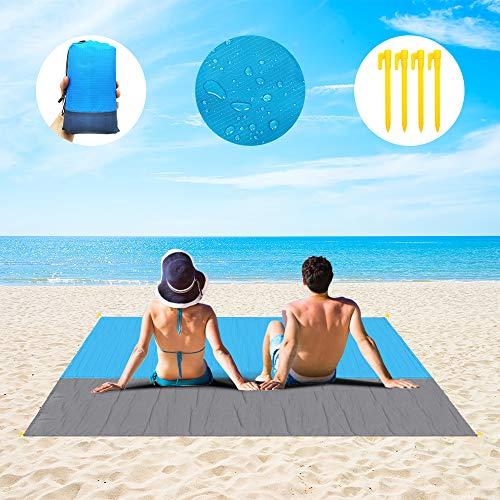 Stranddecke, sanddicht, übergroße wasserdichte Decke, leicht, 200 x 200 cm, für 3–7 Erwachsene, tragbare Picknick-Decken, sandfreie Matte für Reisen, Camping, Wandern (214 x 200 cm), leicht zu tragen