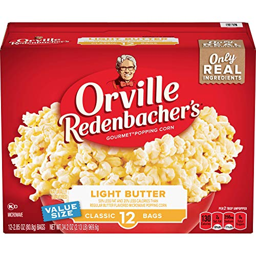 Orville Redenbacher's Light Butter Microwave Popcorn, 2.85 Ounce Classic Bag, 12-Count, Pack of 6