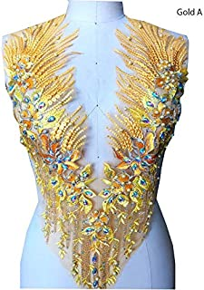 Lace Applique 3D Beaded Embroidered Floral Rhinestone Trim Patches Great for DIY Neckline Bodice Wedding Bridal Prom Dress A2AB (A, Gold)