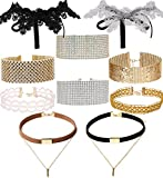 Tpocean 10pcs Gothic Gold Pink Choker Set Tattoo Lace Velvet Crystal Rhinestone Silver Choker Necklace Jewelry Set for Girls Women and Crystal Rhinestone Necklace Set Party Wedding Gifts