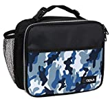 OPUX Insulated Lunch Box for Kids, Boys, Girls   Soft Leakproof Lunch Bag for Men Women   Reusable Durable Thermal Lunch Pail for School Work Office   Fit 6 Cans (Camo Blue)