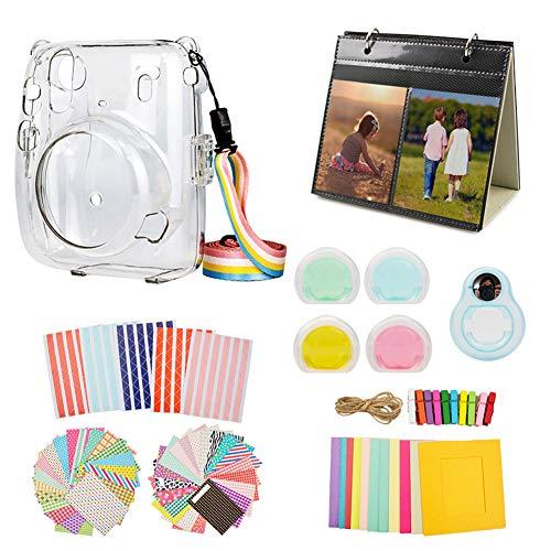 MUZIRI KINOKOO Mini 11 Zubehör-Set für Fujifilm Instax Mini 11 Schutzhülle mit 8 nützlichen Zubehör-Kamerataschen, 4 Farben Filterlinse, transparente Hülle + blaues Selfie-Objektiv