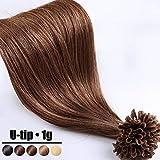 Extension Cheveux Naturel Keratine 1G Pose à Chaud 50 Mèches - 100% Vrai Cheveux Humain Rajout 20 Pouce(50CM) - #04 Marron chocolat