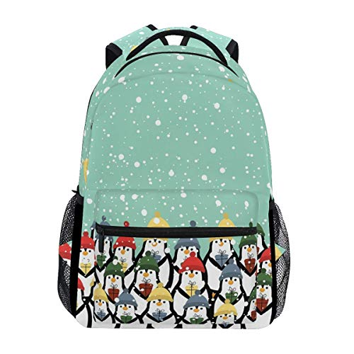 Bookbag Christmas Penguins School Travel Gift Lightweight Bookbag Student Backpack Unique Printed College Stylish Shoulder Bag Durable Casual