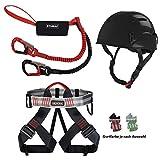 Diverse ALPIDEX Kletterhelm + ALPIDEX Klettergurt + Stubai Klettersteigset Basic 3.0 - Helm: Black, Gurt: red