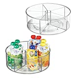 mDesign Divided Lazy Susan Turntable Storage Container for Kitchen Cabinet, Pantry, Refrigerator, Countertop Food Safe - Spinning Organizer for Kids/Toddler's Food Pouches - 5 Sections, 2 Pack - Clear