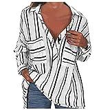 YANFANG Camiseta De Rayas con Mangas Enrolladas, Camisa Cuello En V Y Botones,Mujeres Manga Enrollada BotóN Blusas Top,Blusas Elegantes,Blusas Verano Talla Grande,Camiseta BáSica-Blanco-S