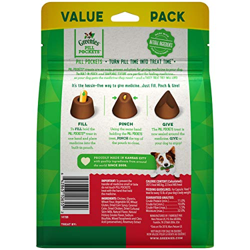 GRE   ENIES PILL POCKETS Soft Dog Treats, Hickory Smoke, Capsule, one (1) 15.8-ounce 60-count pack