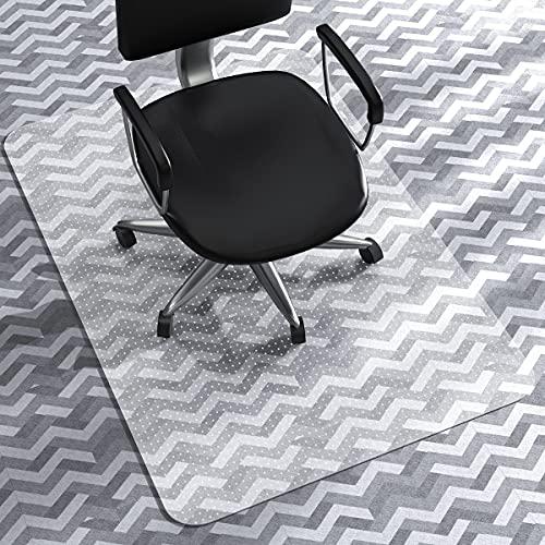 WASJOYE Alfombrilla de PVC para silla de moqueta, transparente de PVC, tamaño grande, 91,4 x 122 cm, con respaldo antideslizante con tachuelas, protector de alfombra para el hogar, oficina o e