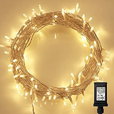 Koopower Indoor String Lights with Remote and Timer on Clear Fairy Lights for Bedroom, Christmas Decoration (8 Modes, Dimmable, Low Voltage Plug, Warm White)